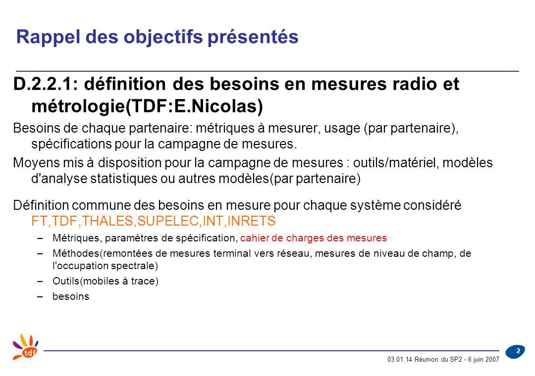 03.01.14 Réunion du SP2 - 6 juin 2007 2 Rappel des objectifs présentés D.2.2.1: définition des besoins en mesures radio et métrologie(TDF:E.Nicolas) Besoins de chaque partenaire: métriques à mesurer, usage (par partenaire), spécifications pour la campagne de mesures.