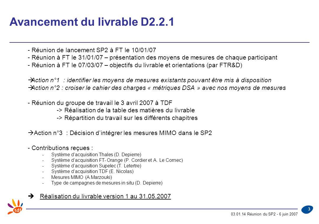 03.01.14 Réunion du SP2 - 6 juin 2007 4 Présentation du projet de livrable D2.2.1 Contents 1INTRODUCTION TO THIS DELIVERABLE 2SPATIO-TEMPORAL VIEW 3DEFINITION OF MEASURABLE PARAMETERS 4ACQUISITION STATIONS DESCRIPTION 5MIMO MEASUREMENT 6STANDARD ORIENTED MEASUREMENTS 7RELATION BETWEEN RADIO MEASUREMENTS AND DSA METRICS 8TESTS PLAN ANNEX 1 : MEASUREMENT PARAMETERS BY CONTRIBUTORS FOR EACH SERVICE