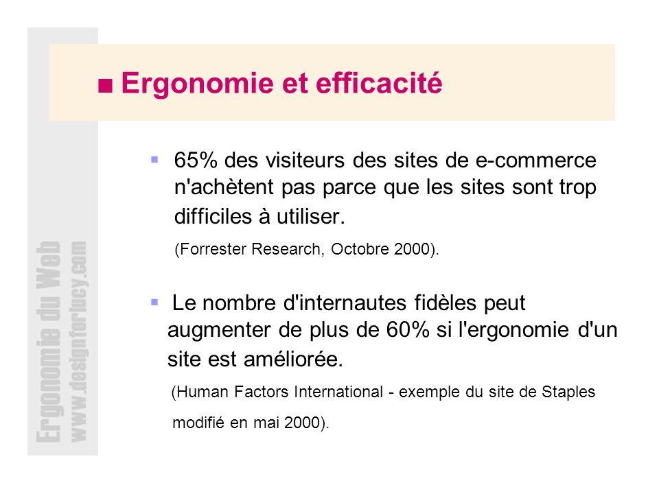 Ergonomie et efficacité 65% des visiteurs des sites de e-commerce n achètent pas parce que les sites sont trop difficiles à utiliser.