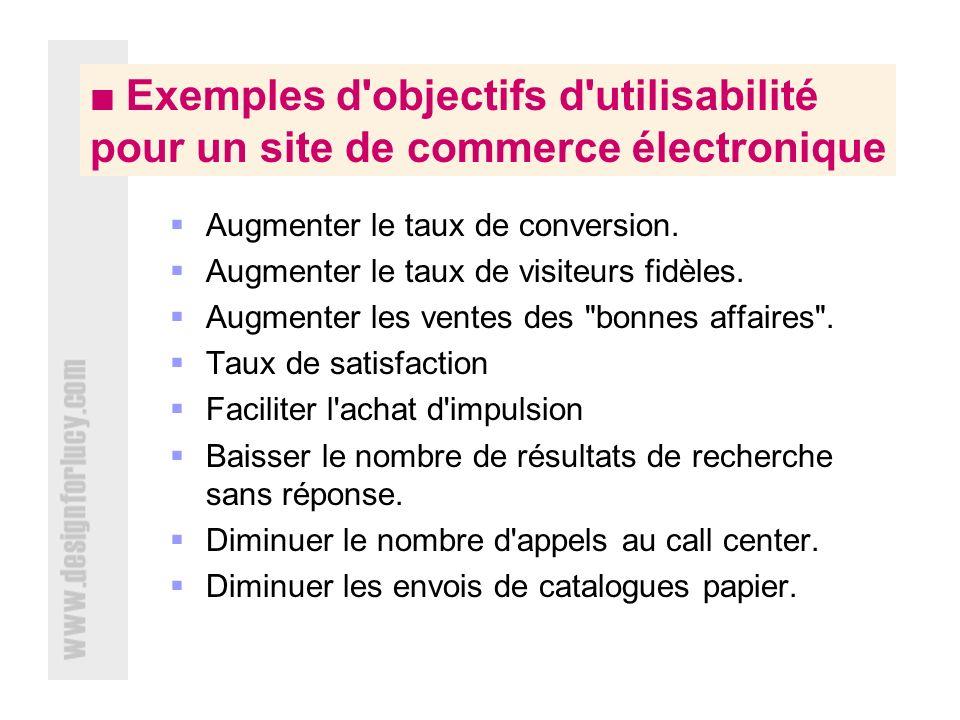 Exemples d objectifs d utilisabilité pour un site de commerce électronique Augmenter le taux de conversion.