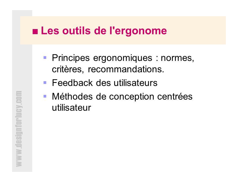 Principes ergonomiques : normes, critères, recommandations.