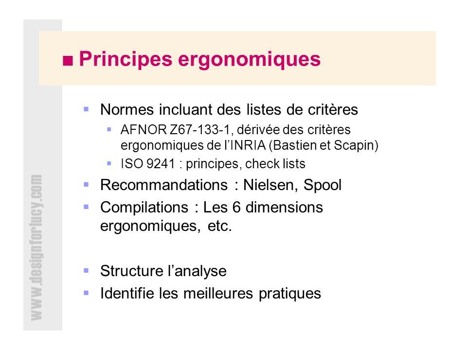 Principes ergonomiques Normes incluant des listes de critères AFNOR Z67-133-1, dérivée des critères ergonomiques de lINRIA (Bastien et Scapin) ISO 9241 : principes, check lists Recommandations : Nielsen, Spool Compilations : Les 6 dimensions ergonomiques, etc.