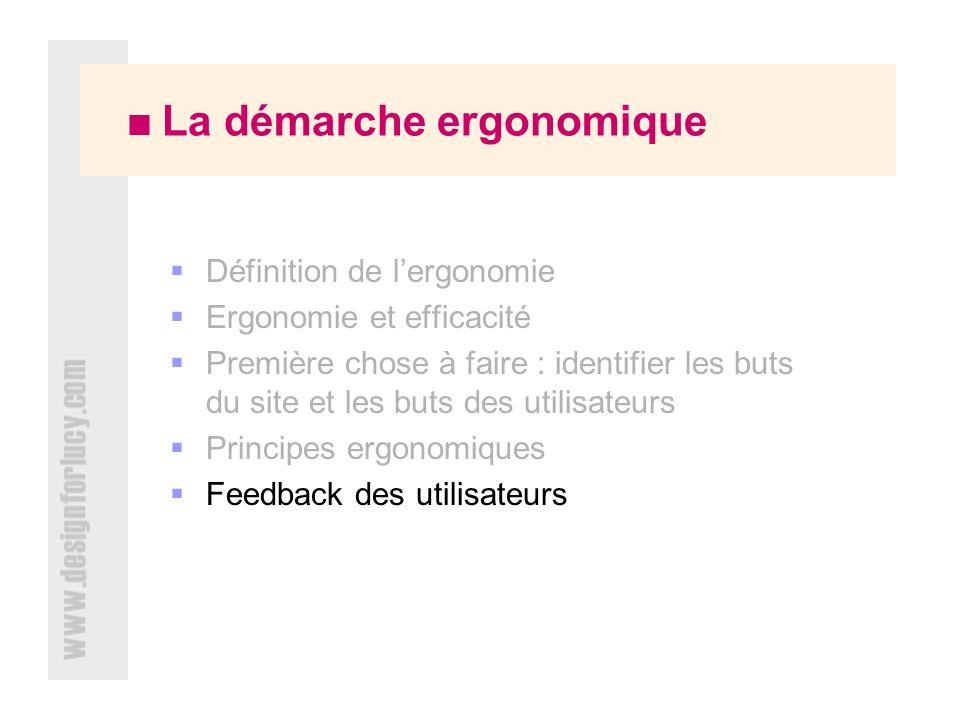 La démarche ergonomique Définition de lergonomie Ergonomie et efficacité Première chose à faire : identifier les buts du site et les buts des utilisateurs Principes ergonomiques Feedback des utilisateurs