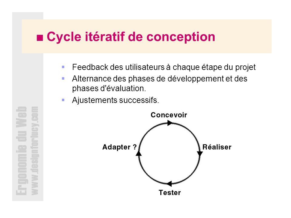 Cycle itératif de conception Feedback des utilisateurs à chaque étape du projet Alternance des phases de développement et des phases d évaluation.
