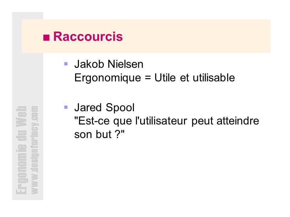 Raccourcis Jakob Nielsen Ergonomique = Utile et utilisable Jared Spool Est-ce que l utilisateur peut atteindre son but ?