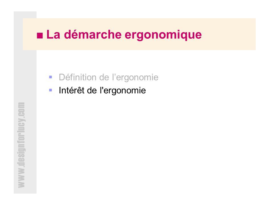 La démarche ergonomique Définition de lergonomie Intérêt de l ergonomie