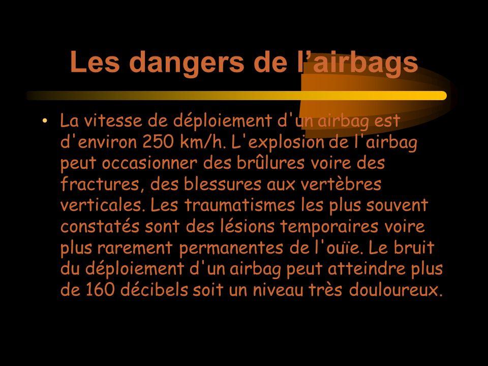 Les dangers de lairbags La vitesse de déploiement d un airbag est d environ 250 km/h.