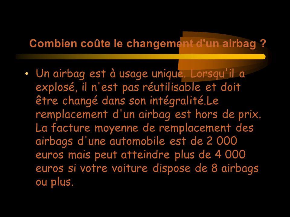 Combien coûte le changement d un airbag . Un airbag est à usage unique.