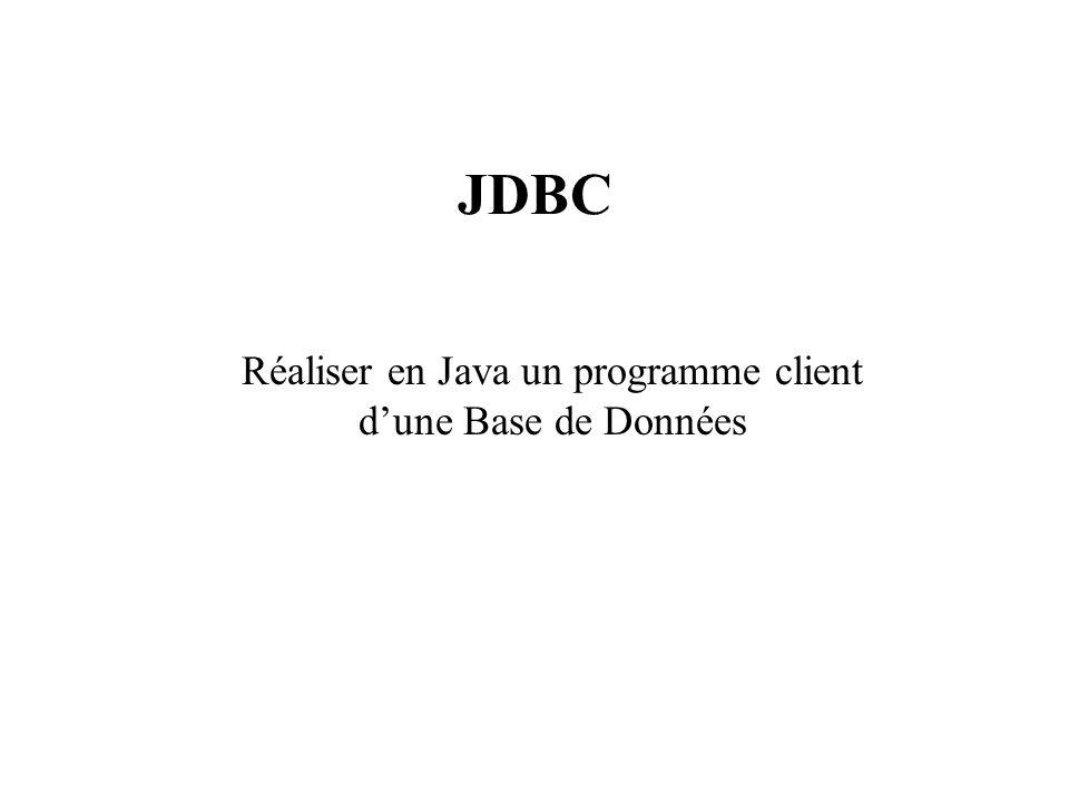 JDBC Réaliser en Java un programme client dune Base de Données