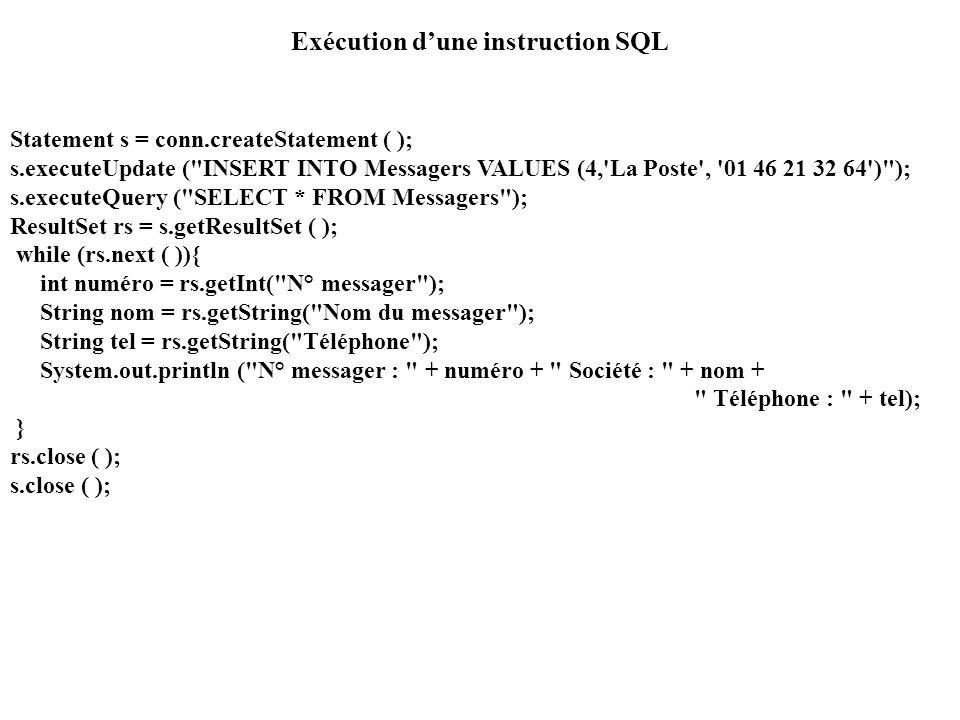 Exécution dune instruction SQL Statement s = conn.createStatement ( ); s.executeUpdate (