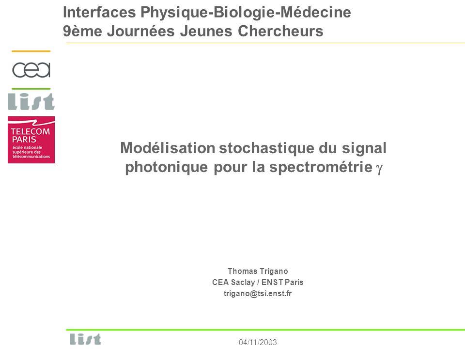 04/11/2003 Interfaces Physique-Biologie-Médecine 9ème Journées Jeunes Chercheurs Modélisation stochastique du signal photonique pour la spectrométrie