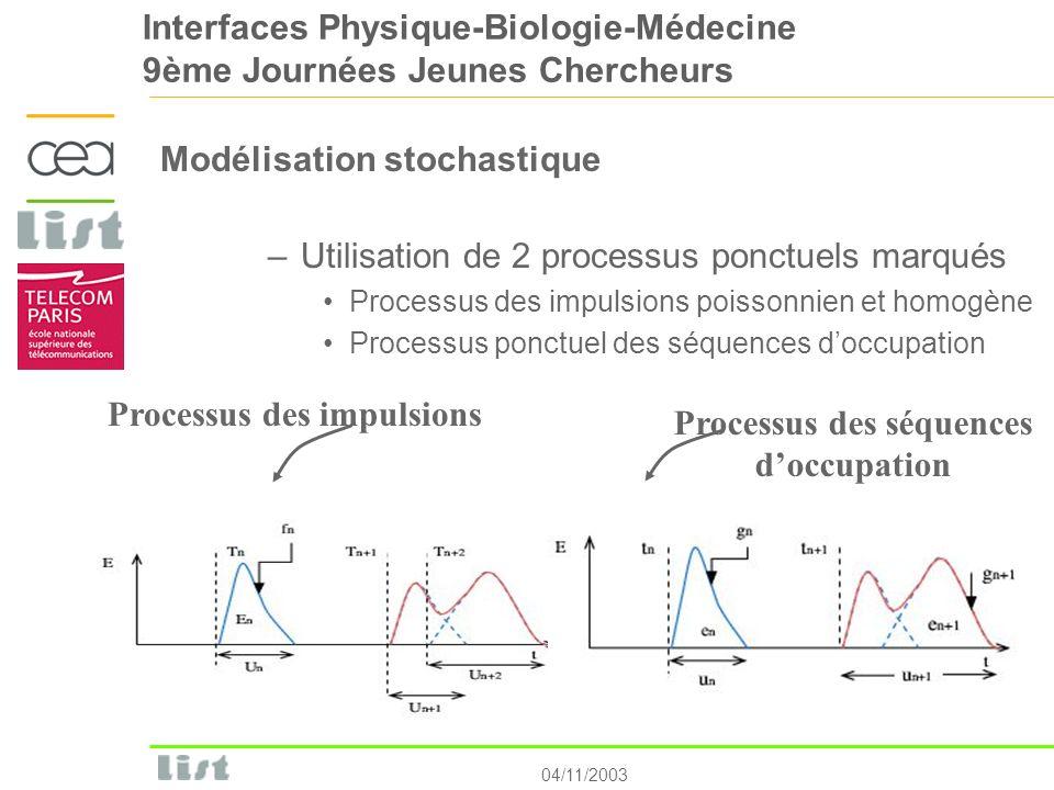 04/11/2003 Interfaces Physique-Biologie-Médecine 9ème Journées Jeunes Chercheurs Modélisation stochastique –Utilisation de 2 processus ponctuels marqu