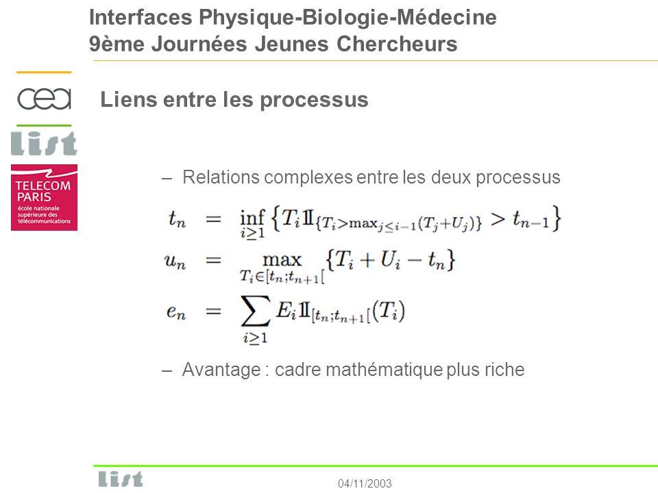 04/11/2003 Interfaces Physique-Biologie-Médecine 9ème Journées Jeunes Chercheurs Liens entre les processus –Relations complexes entre les deux process