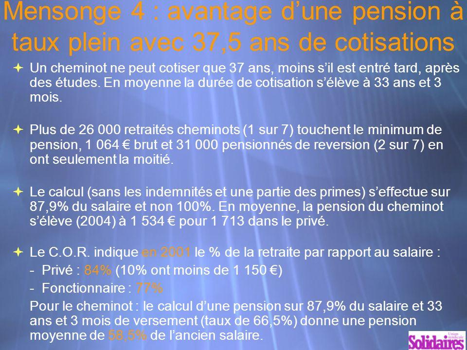 Mensonge 4 : avantage dune pension à taux plein avec 37,5 ans de cotisations Un cheminot ne peut cotiser que 37 ans, moins sil est entré tard, après des études.