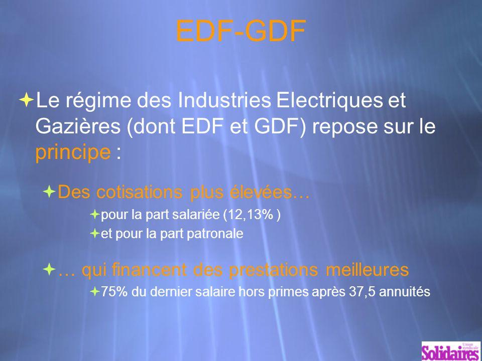 EDF-GDF Le régime des Industries Electriques et Gazières (dont EDF et GDF) repose sur le principe : Des cotisations plus élevées… pour la part salariée (12,13% ) et pour la part patronale … qui financent des prestations meilleures 75% du dernier salaire hors primes après 37,5 annuités