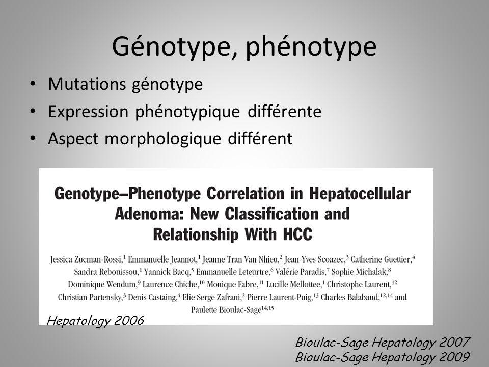 Génotype, phénotype Mutations génotype Expression phénotypique différente Aspect morphologique différent Hepatology 2006 Bioulac-Sage Hepatology 2007