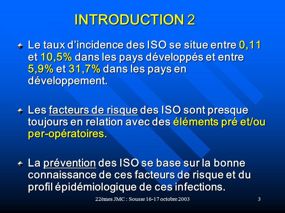 22èmes JMC : Sousse 16-17 octobre 20033 Le taux dincidence des ISO se situe entre 0,11 et 10,5% dans les pays développés et entre 5,9% et 31,7% dans l