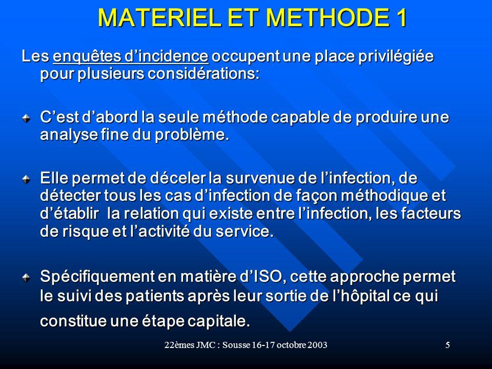 22èmes JMC : Sousse 16-17 octobre 20035 Les enquêtes dincidence occupent une place privilégiée pour plusieurs considérations: Cest dabord la seule mét