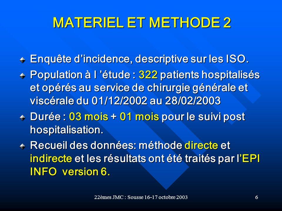 22èmes JMC : Sousse 16-17 octobre 20036 Enquête dincidence, descriptive sur les ISO. Population à l étude : 322 patients hospitalisés et opérés au ser