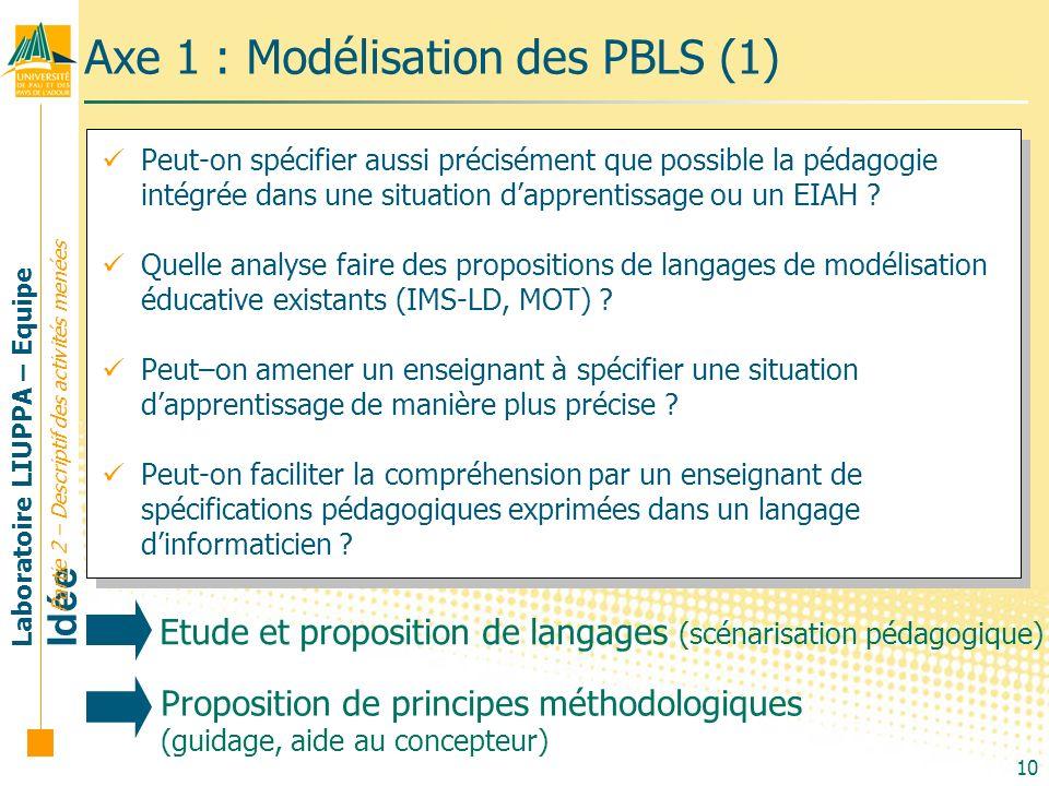Laboratoire LIUPPA – Equipe Idée 10 Axe 1 : Modélisation des PBLS (1) Partie 2 – Descriptif des activités menées Peut-on spécifier aussi précisément q