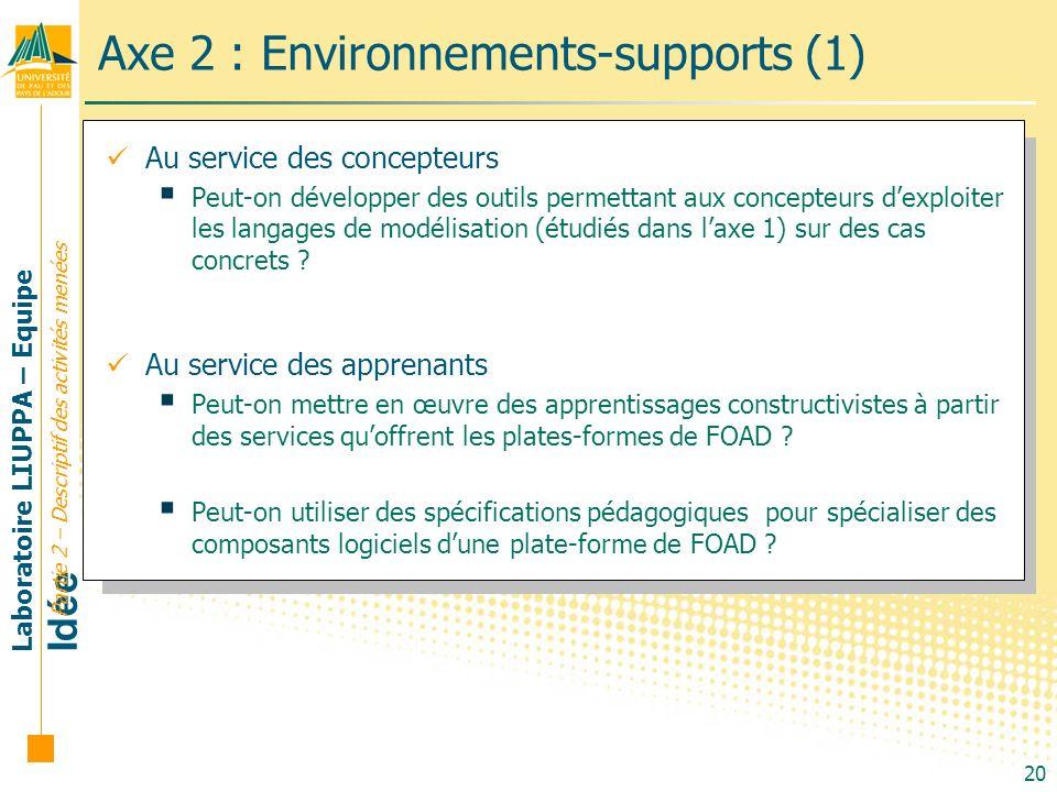 Laboratoire LIUPPA – Equipe Idée 20 Axe 2 : Environnements-supports (1) Partie 2 – Descriptif des activités menées Au service des concepteurs Peut-on