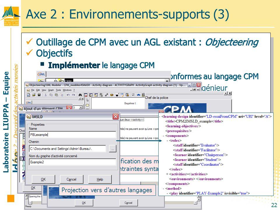 Laboratoire LIUPPA – Equipe Idée 22 Axe 2 : Environnements-supports (3) Partie 2 – Descriptif des activités menées Outillage de CPM avec un AGL exista
