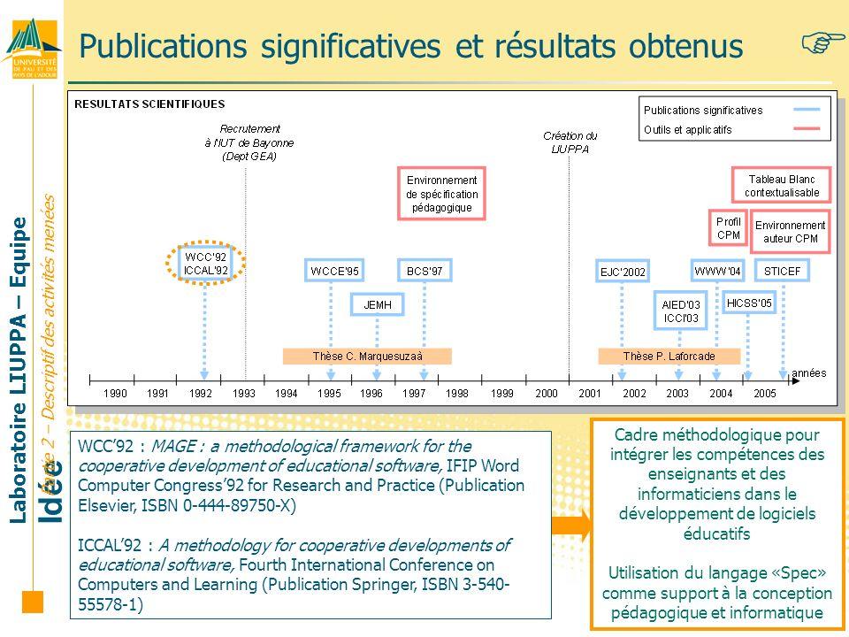 Laboratoire LIUPPA – Equipe Idée 25 Publications significatives et résultats obtenus WCC92 : MAGE : a methodological framework for the cooperative dev