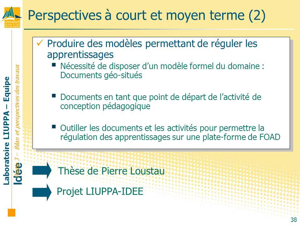 Laboratoire LIUPPA – Equipe Idée 38 Produire des modèles permettant de réguler les apprentissages Nécessité de disposer dun modèle formel du domaine :