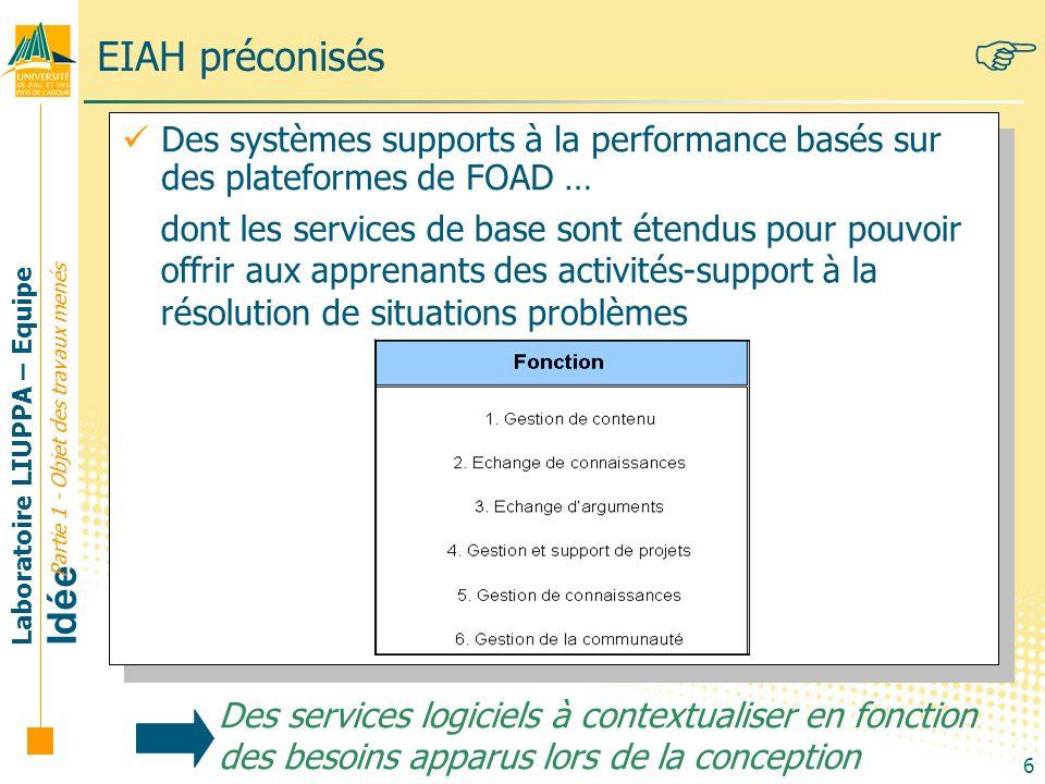 Laboratoire LIUPPA – Equipe Idée 6 EIAH préconisés Des systèmes supports à la performance basés sur des plateformes de FOAD … Des services logiciels à