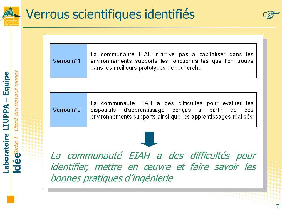 Laboratoire LIUPPA – Equipe Idée 7 Verrous scientifiques identifiés Partie 1 - Objet des travaux menés La communauté EIAH a des difficultés pour ident