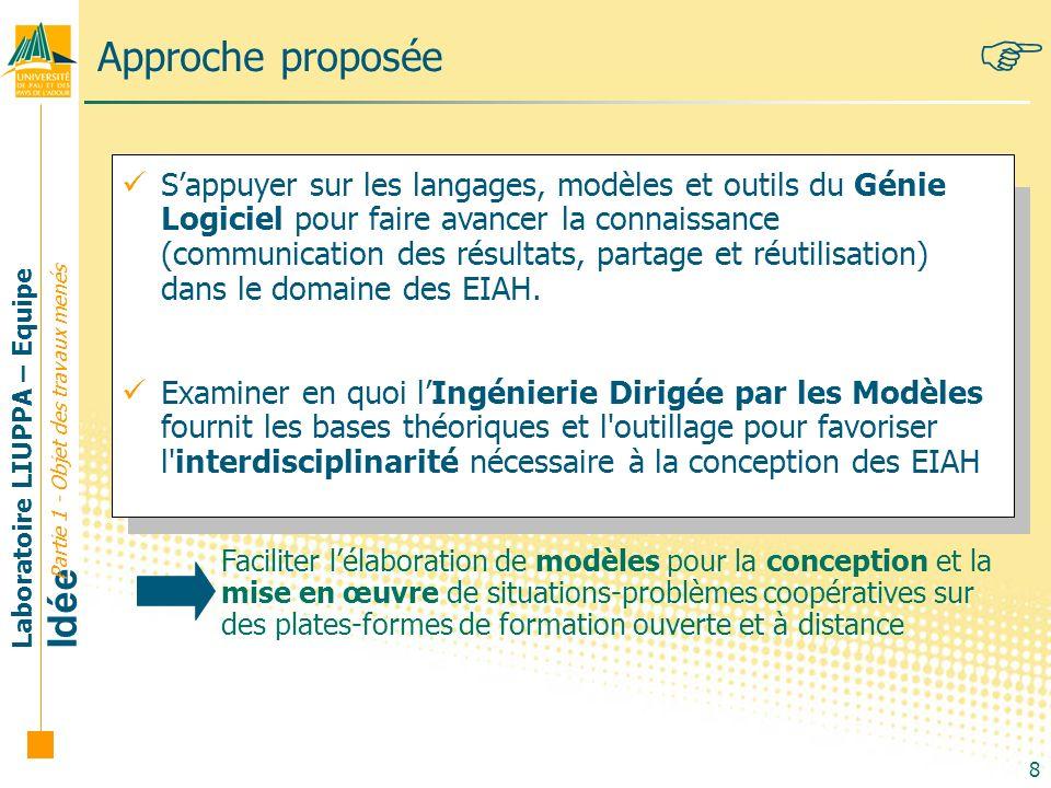 Laboratoire LIUPPA – Equipe Idée 8 Approche proposée Sappuyer sur les langages, modèles et outils du Génie Logiciel pour faire avancer la connaissance