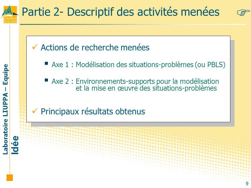 Laboratoire LIUPPA – Equipe Idée 9 Partie 2- Descriptif des activités menées Actions de recherche menées Axe 1 : Modélisation des situations-problèmes