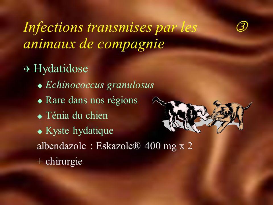 Q Toxocarose (T. canis et T. cati) u Larva migrans viscérale la plus fréquente en France Hyperéosinophilie u Choriorétinite : 4 % u Evolution récidiva