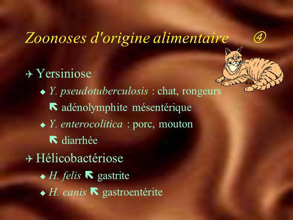 Zoonoses d'origine alimentaire Q Salmonellose non typhique u S. enteritidis, S. typhi murium transmission alimentaire contact avec animaux de compagni