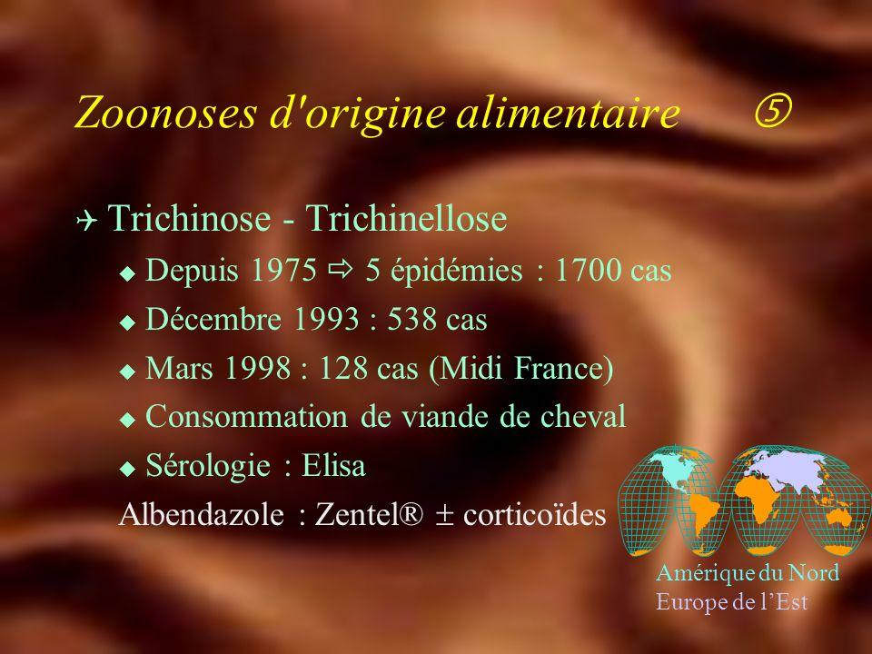 Zoonoses d'origine alimentaire Q Yersiniose u Y. pseudotuberculosis : chat, rongeurs adénolymphite mésentérique u Y. enterocolitica : porc, mouton dia