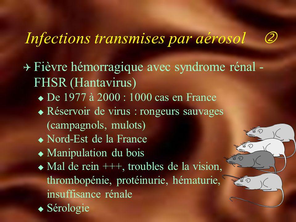 Infections transmise par aérosol Q Fièvre Q u Coxiella burnetii u Mammifères sauvages ou domestiques (ovins, oiseaux, chats) u Inhalation daérosols infectés, ingestion lait cru, tiques u Eleveurs de bétail(600 cas/an) u Aspects cliniques : hépatite fébrile, pneumopathie, endocardite à hémoculture (-) u Sérologie (phases I et II) Doxycycline - 21 j 3 ans OHchloroquine