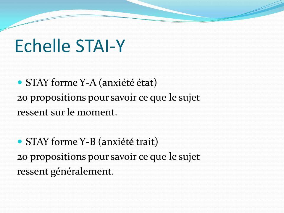 Echelle STAI-Y STAY forme Y-A (anxiété état) 20 propositions pour savoir ce que le sujet ressent sur le moment. STAY forme Y-B (anxiété trait) 20 prop