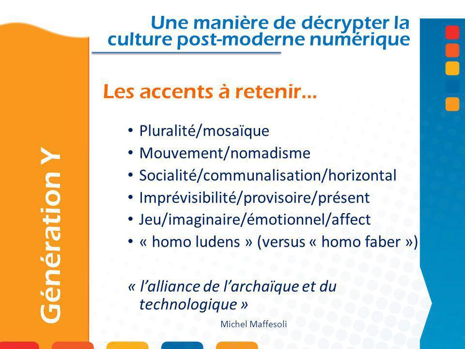 Les accents à retenir… Une manière de décrypter la culture post-moderne numérique Pluralité/mosaïque Mouvement/nomadisme Socialité/communalisation/hor
