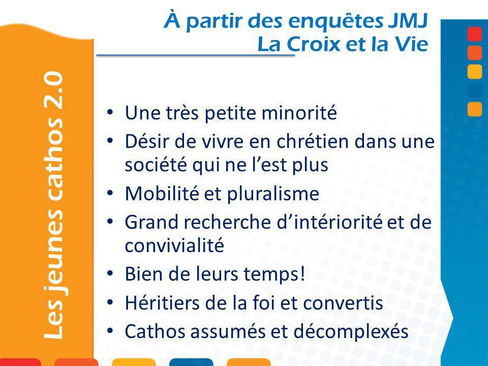 Les jeunes cathos 2.0 À partir des enquêtes JMJ La Croix et la Vie Une très petite minorité Désir de vivre en chrétien dans une société qui ne lest pl