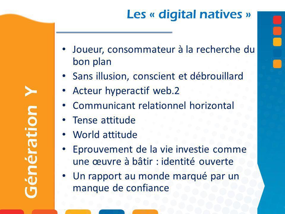 Les « digital natives » Joueur, consommateur à la recherche du bon plan Sans illusion, conscient et débrouillard Acteur hyperactif web.2 Communicant r
