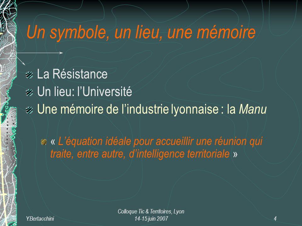 Y.Bertacchini Colloque Tic & Territoires, Lyon 14-15 juin 20075 Tic & Territoire: une pratique, une inscription, un champ, un axe de Recherche.