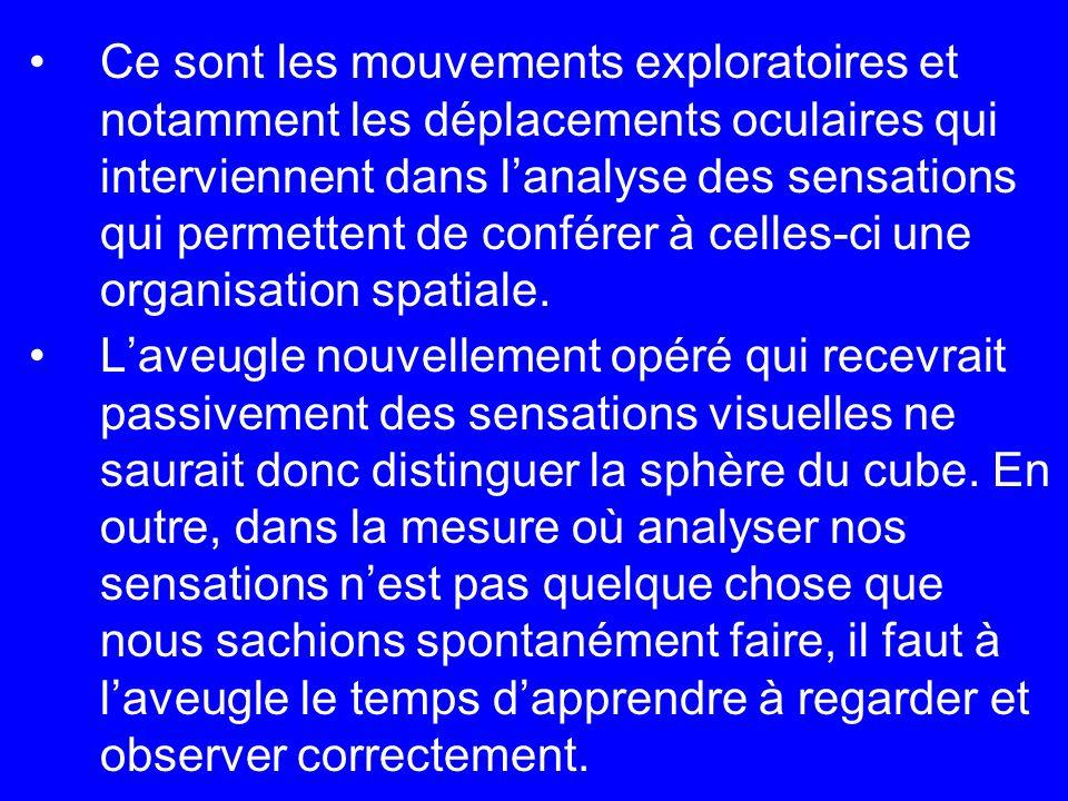 Ce sont les mouvements exploratoires et notamment les déplacements oculaires qui interviennent dans lanalyse des sensations qui permettent de conférer