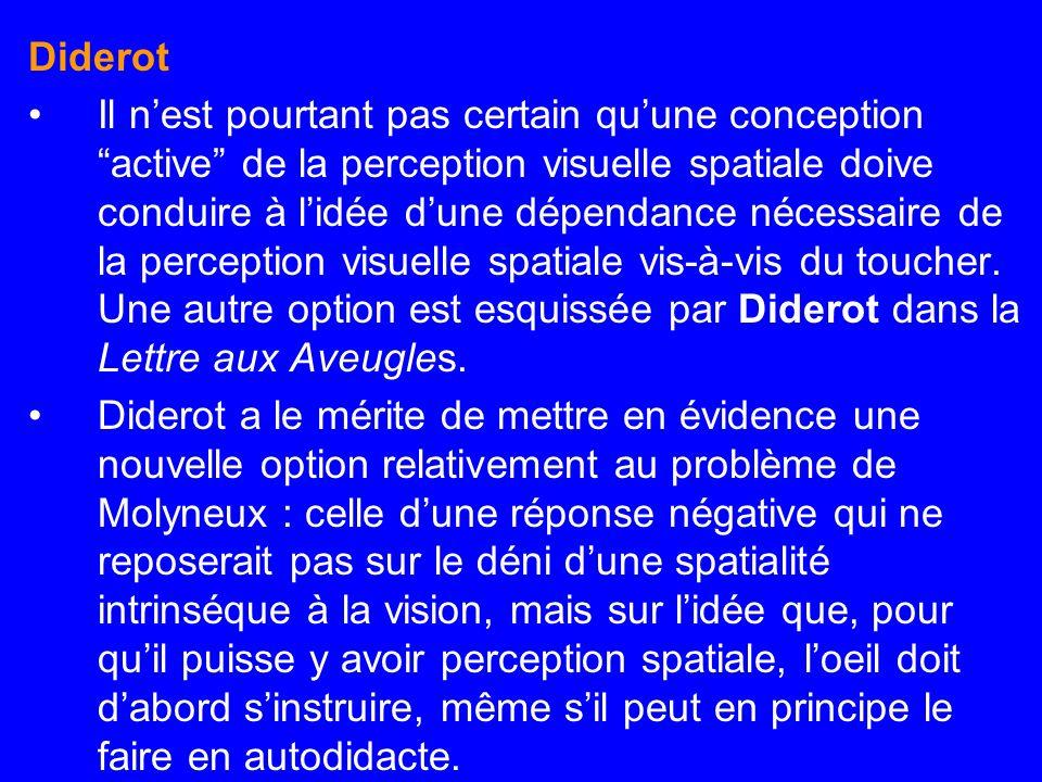 Diderot Il nest pourtant pas certain quune conception active de la perception visuelle spatiale doive conduire à lidée dune dépendance nécessaire de l