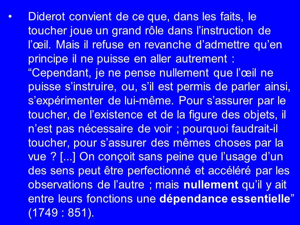 Diderot convient de ce que, dans les faits, le toucher joue un grand rôle dans linstruction de lœil. Mais il refuse en revanche dadmettre quen princip
