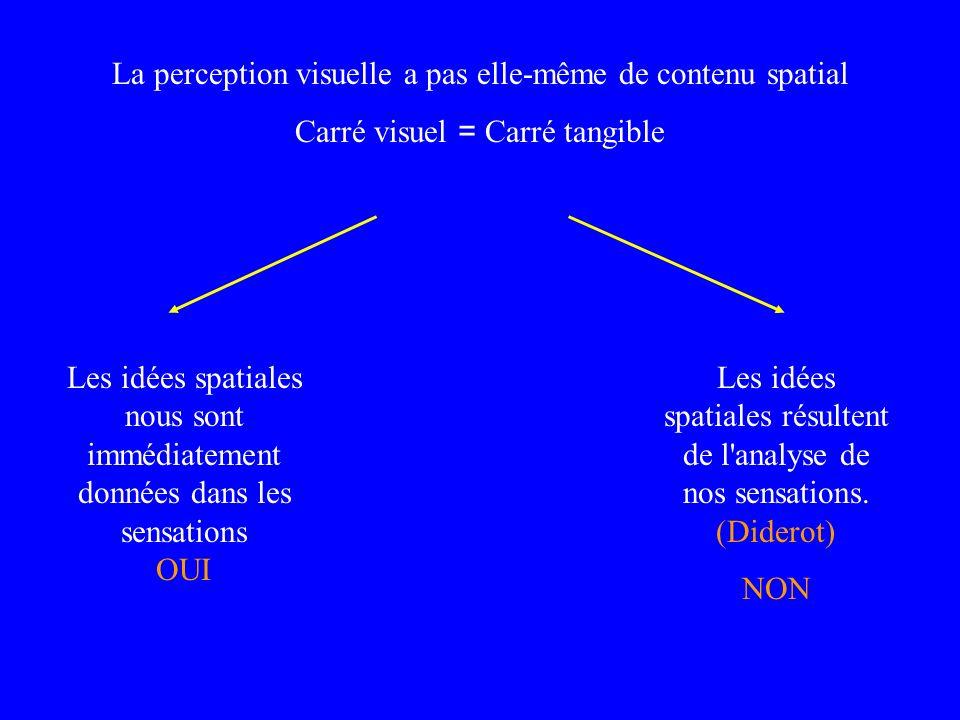 La perception visuelle a pas elle-même de contenu spatial Carré visuel = Carré tangible Les idées spatiales nous sont immédiatement données dans les s