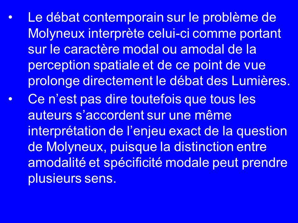 Le débat contemporain sur le problème de Molyneux interprète celui-ci comme portant sur le caractère modal ou amodal de la perception spatiale et de c