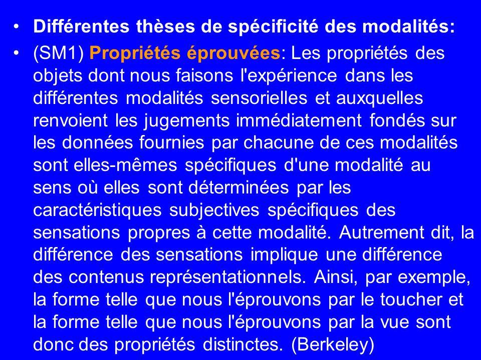 Différentes thèses de spécificité des modalités: (SM1) Propriétés éprouvées: Les propriétés des objets dont nous faisons l'expérience dans les différe