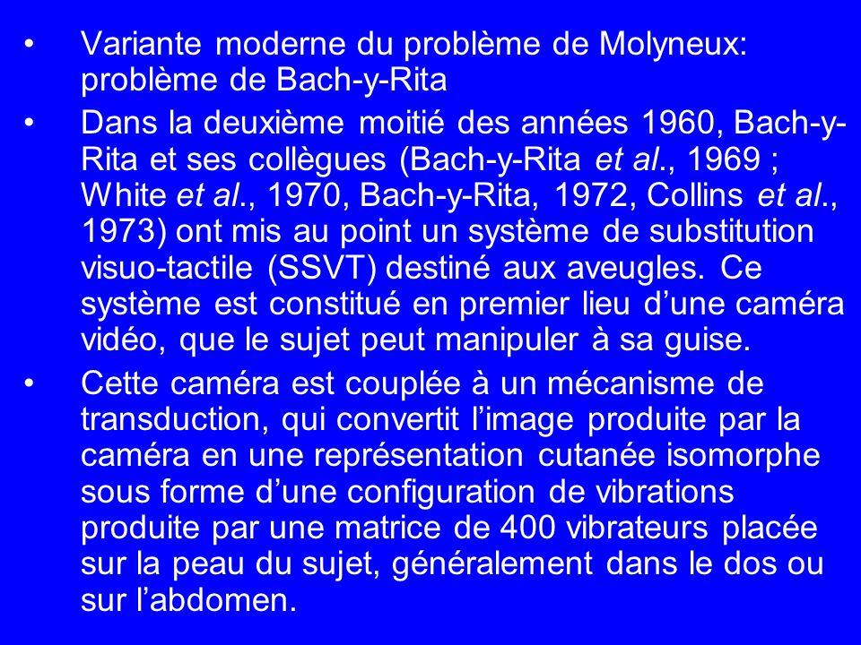 Variante moderne du problème de Molyneux: problème de Bach-y-Rita Dans la deuxième moitié des années 1960, Bach-y- Rita et ses collègues (Bach-y-Rita