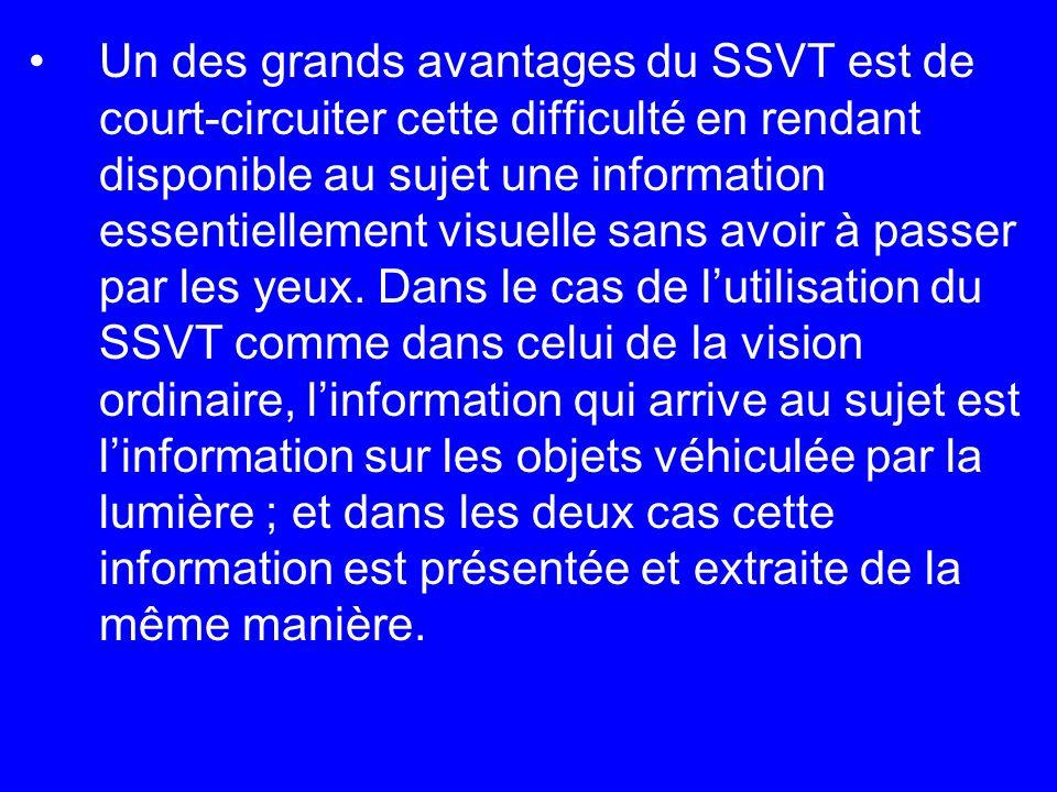 Un des grands avantages du SSVT est de court-circuiter cette difficulté en rendant disponible au sujet une information essentiellement visuelle sans a