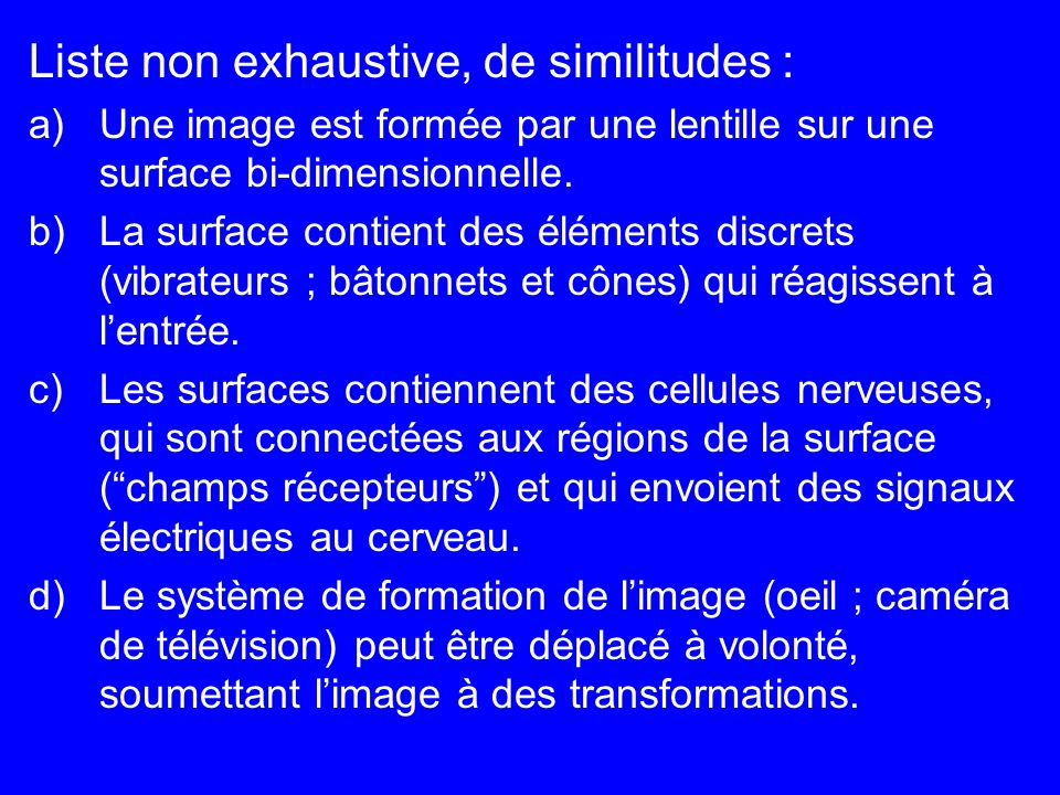 Liste non exhaustive, de similitudes : a)Une image est formée par une lentille sur une surface bi-dimensionnelle. b)La surface contient des éléments d